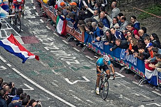 Amstel Gold Race - Philippe Gilbert riding up the Cauberg in the finale of the 2012 UCI Road World Championships.