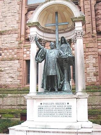 Phillips Brooks - Statue by Augustus Saint-Gaudens, Trinity Church, Boston, dedicated 1910