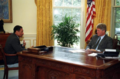 Photograph of President William J. Clinton Meeting with Secretary of Agriculture Mike Espy.png