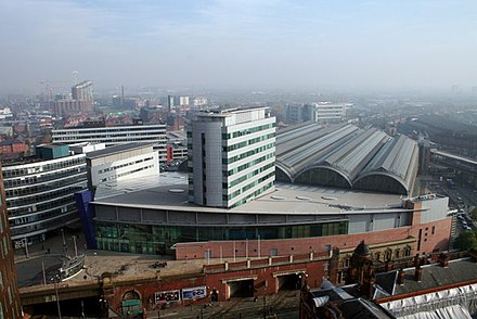 Manchester Piccadilly Station, the busiest of the four major railway stations in the Manchester station group with over 27 million passengers using the station in 2017. Piccadilly Station Manchester - geograph.org.uk - 692981.jpg