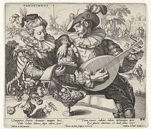 Pieter de Jode I - The four temperaments, Sangvinevs after Maerten de Vos