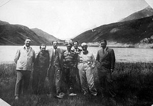 Enzo Ferrari - Drivers Enzo Ferrari (1st from left), Tazio Nuvolari (4th) and Achille Varzi (6th) of Alfa Romeo with Alfa Romeo Managing Director Prospero Gianferrari (3rd) at Colle della Maddalena, c. 1933