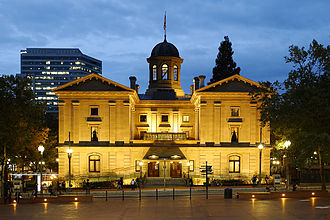 Pioneer Courthouse - The Pioneer Courthouse at dusk in 2013