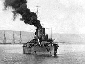 Italian cruiser Pisa - Pisa off the Libyan city of Derna in October 1912