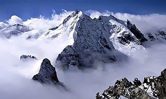 Thomas Middlemore - Piz Bernina. Middlemore made the first ascent of the celebrated Biancograt (centre)
