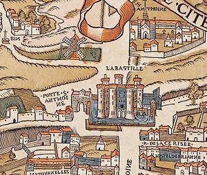 Faubourg Saint-Antoine - Image: Plan de Paris vers 1550 porte St Antoine