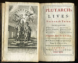 Jacob Tonson - The title page of a 1727 English translation of Plutarch's Parallel Lives, published by Tonson
