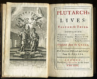 Biography - Third Volume of a 1727 edition of Plutarch's Lives of the Noble Greeks and Romans printed by Jacob Tonson