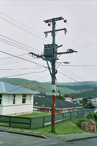 Low-voltage network - A pole-mounted three-phase distribution transformer. Low-voltage feeders distributing power to households are placed below the transformer