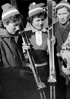 Cross-country skiing at the 1956 Winter Olympics – Ladies' 3 × 5 kilometre relay - Sirkka Polkunen, Mirja Hietamies and Siiri Rantanen, winners of 3 x 5 km relay
