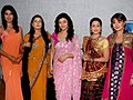 Pooja Gaur, Ragini Khanna, Disha Wakani, Aashka Goradia,Aishwarya Sakhuja on the sets of KBC 01.jpg