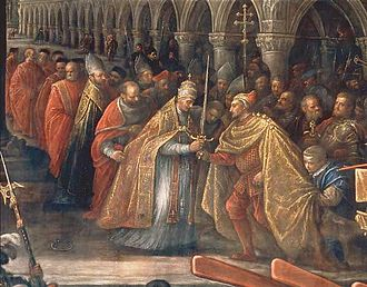 Blessed sword and hat - A doge of Venice receiving a sword from a pope, as painted by Francesco Bassano in 1592