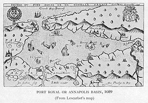 Annapolis River - Champlain's map of 1609 showing the river's French name of Rivière du Dauphin.