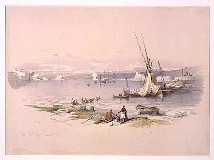 """Port of Tyre"" - coloured lithograph by Haghe after another 1839 drawing by Roberts, from his travelogue of Palestine The Holy Land, Syria, Idumea, Arabia, Egypt, and Nubia Port of Tyre April 27th 1839 - David Roberts, R.A. LCCN2002717513.jpg"