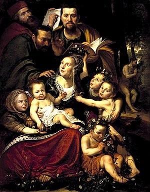 Pottrait of a family as Caritas with a self-portrait of the artist; in the background John the Baptist preaching