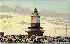 New Haven Harbor - Sperry Breakwater Lighthouse as seen in a 1901-1907 era postcard. The light was built in 1899, then torn down in 1933 and replaced by a skeleton tower.