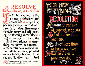 Two New Year's Resolutions postcards