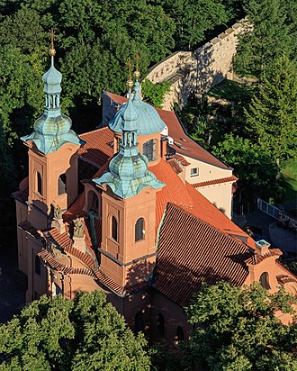 Cathedral of Saint Lawrence (Prague) - Church of Saint Lawrence as seen from the Petřín Lookout Tower