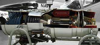 Pratt & Whitney J52 - A J52 cut-out showing its two spools
