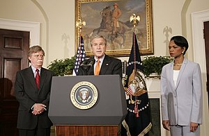 John R. Bolton - President George W. Bush announces the nomination of Bolton as the U.S. ambassador to UN as Secretary of State Condoleezza Rice looks on.