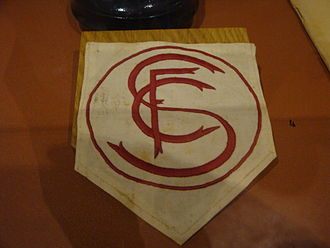 Sevilla FC - Sevilla's first crest, displayed on a former player's shirt in the club museum.