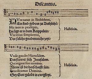 Sie werden aus Saba alle kommen, BWV 65 - Image: Puer natus Ein Kind geborn (1553)