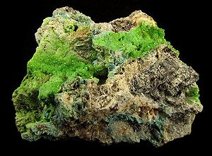 Leadhills - Green pyromorphite microcrystals cover the vuggy, quartz-rich matrix. Seams of tiny cerussite crystals and crusts of contrasting, powder-blue caledonite round out this very rich lead ore specimen from an old Leadhills mine. Size: 7.5 x 5.4 x 3.2 cm.
