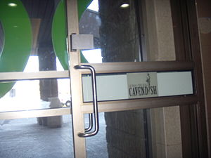 Quartier Cavendish Door With Old Cavendish Mall Logo.JPG