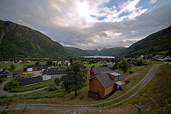 View of the village and Røldalsvatnet in the background