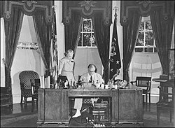 The Oval Office in 1934, during the administration of Franklin D. Roosevelt.