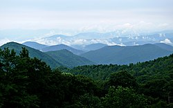 Pohled na Blue Ridge Mountains z Blue Ridge Parkway.