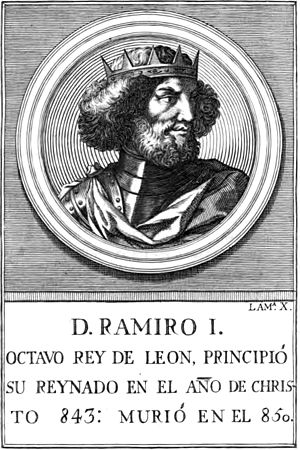 Ramiro I of Asturias - Like the statue of Ramiro at the Royal Palace in Madrid, Manuel Rodriguez's 18th-century depiction of Ramiro has no basis in any contemporary image.