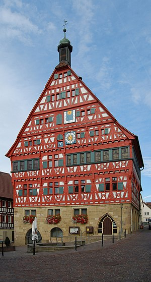 Großbottwar - Town hall of Großbottwar, dating from 1556/57 and showing timber framing which has also been preserved in several other houses in the old town.