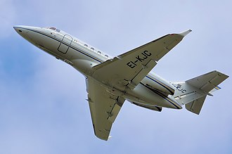 Vortilon - Vortilons can be seen projecting from underneath the center leading edge of the wings of this Hawker 850XP