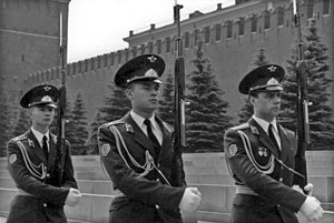 Kremlin Regiment - Soviet guard on their way to Lenin's mausoleum, 1988