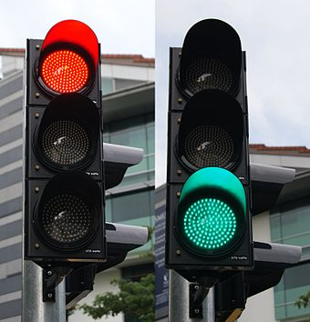 Red and green LED traffic signals Red and green traffic signals, Stamford Road, Singapore - 20111210.jpg