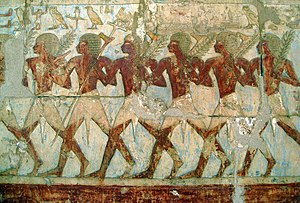 History of Djibouti - Egyptian soldiers from Queen Hatshepsut's Year 9 expedition to the Land of Punt, as depicted on her temple at Deir el-Bahri.