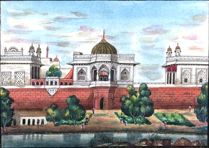 Muthamman Burj (Red Fort) - The Muthamman Burj in the centre of the eastern wall of the Red Fort (painting from 1843)