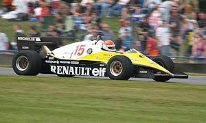 Michel Leclère - Leclère demonstrating a Renault RE40 F1 car at Donington Park in 2007.