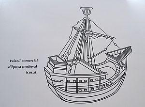 Representació d'un vaixell comercial d'època medieval (coca), Museu Soler Blasco de Xàbia.JPG