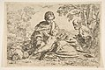 Rest on the flight into Egypt, Mary holding the infant Christ with St. Joseph at right, copy after Cantarini MET DP815018.jpg