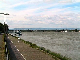 Upper Rhine - The Rhine at Mainz Theodor Heuss Bridge in Mainz