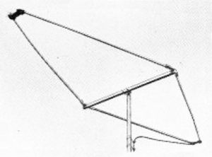 Rhombic antenna - Small rhombic UHF television antenna from 1952.  Its broad bandwidth allowed it to cover the 470 to 890 MHz UHF television band.