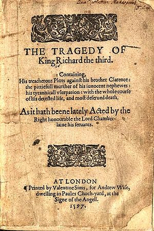 Richard III (play) - Title page of the First Quarto of The Tragedy of King Richard the third