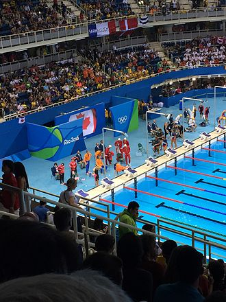 Swimming at the 2016 Summer Olympics – Women's 4 × 100 metre freestyle relay - The relay teams prepare for the final.