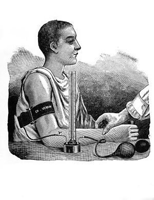 Scipione Riva-Rocci - Illustration of Riva-Rocci's spygmomanometer in use