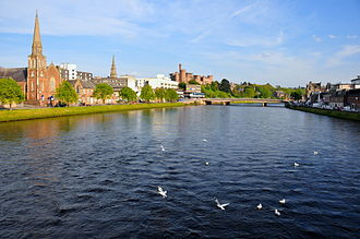 River Ness - River Ness looking upstream towards Inverness Castle, Inverness, Scotland