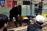 Riverboat salesman at Hozugawa in 2013.jpg