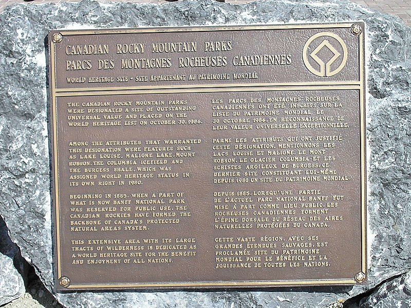 File:Rocky Mountain World Heritage Site Plaque.jpg