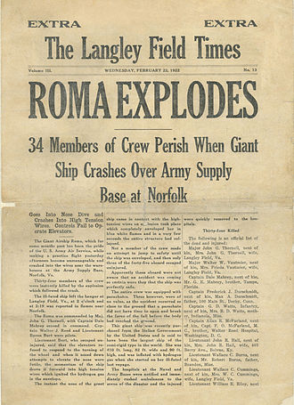 Roma (airship) - 1922 newspaper about the Roma crash